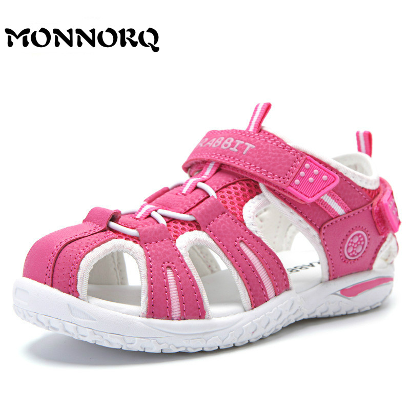 MONNORQ 2018 New Children Shoes for Girls Summer Beach Sandals Boys Closed Toe Outdoor Sandals Shoes Breathable Flat Sandals