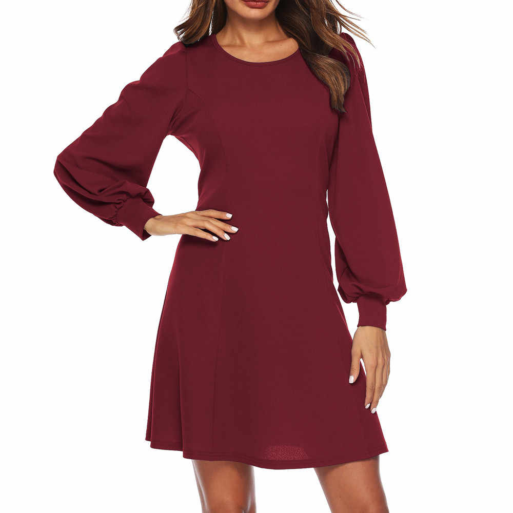 f2ecdc02fe Autumn Women Dress Plush Size O Neck Long lantern Sleeve Mini Dress Solid  Color Loose Dresses