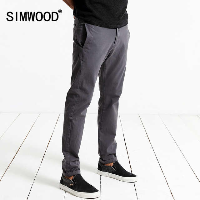 Siwwood 2018 Spring Casual Pants Men Fashion Slim Fit Trousers