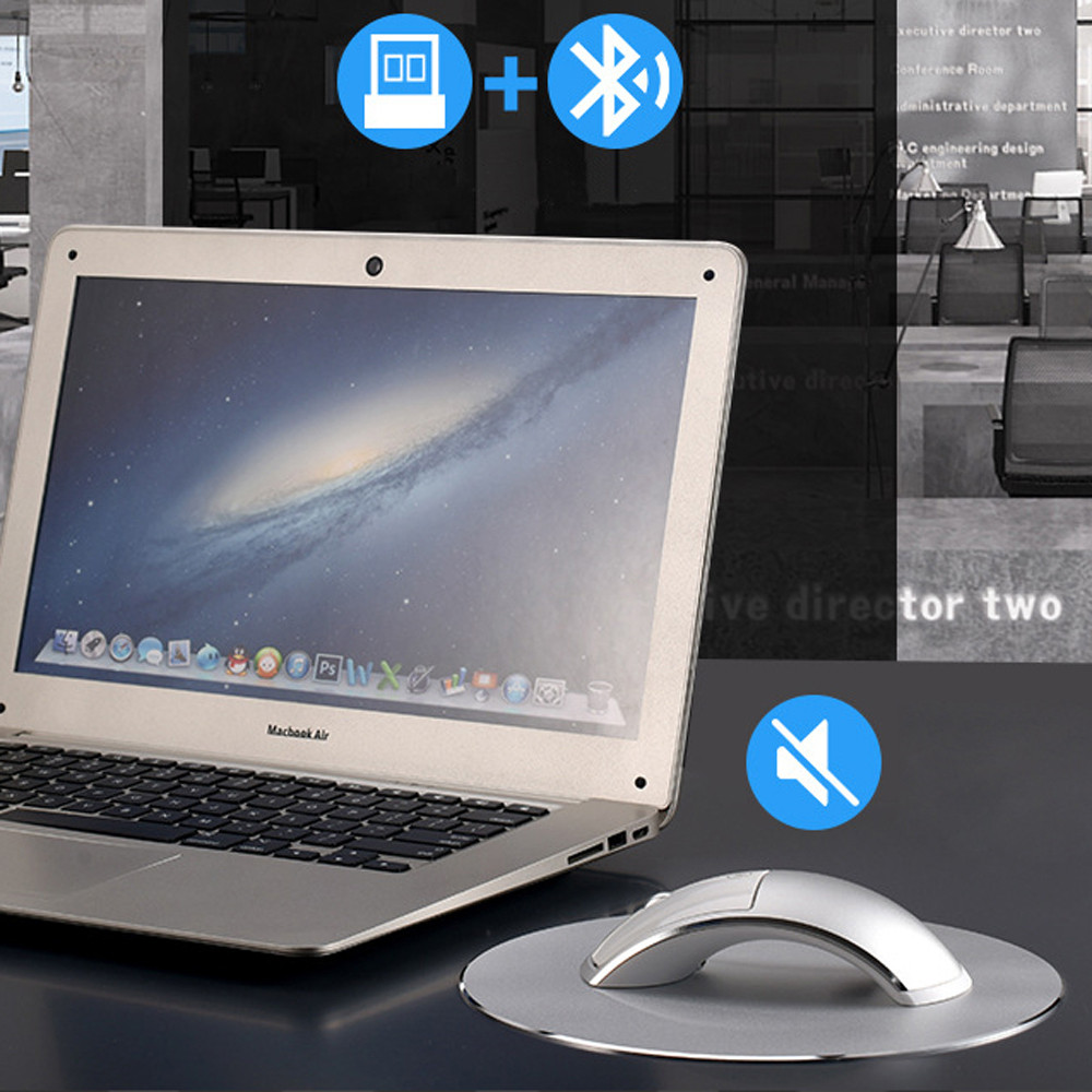 2.4G + Bluetooth Double Model Wireless Rechargeable Mouse Aluminum Alloy Arch Bridge Ergonomic Gaming Mouse with Round Mice Pad round lemon mouse pad