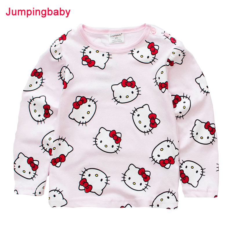 Jumpingbaby 2018 Girls T shirt Kids Clothes T shirts Camiseta Camisetas Todder T-shirt Kitty Tshirt Baby Roupas Menina Baby Girl ботинки steve madden 91000545 floral multi