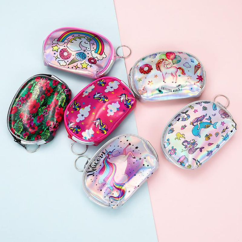 1 Pcs Cartoon Laser Dolphin Unicorn Flower Printed Mini Wallet Coin Purse Zipper Change Key Coin-bags Stationery Card Holders Strengthening Waist And Sinews