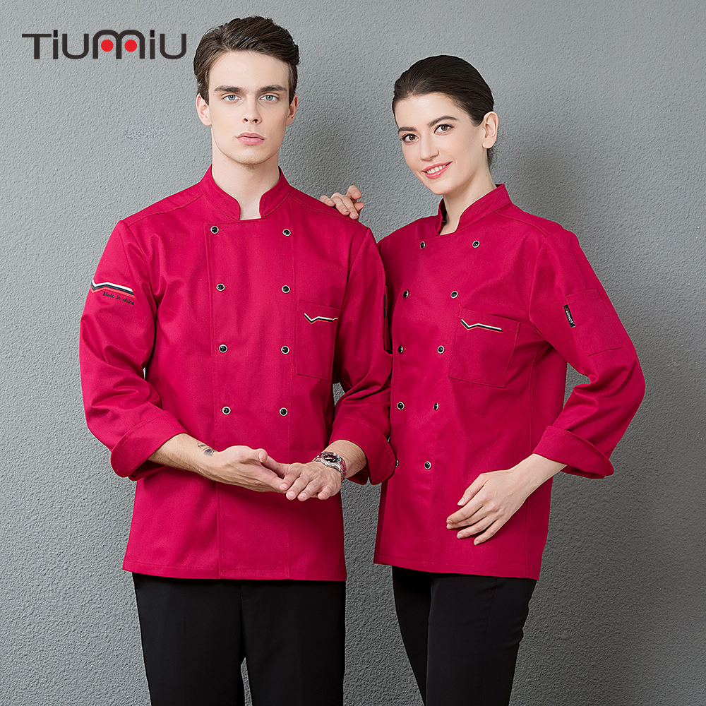 Unisex Embroidery Chef Cooking Workwear Coat Long Sleeve Cuisine Double Breasted Kitchen Cozinha Catering Waiter Jacket Overalls