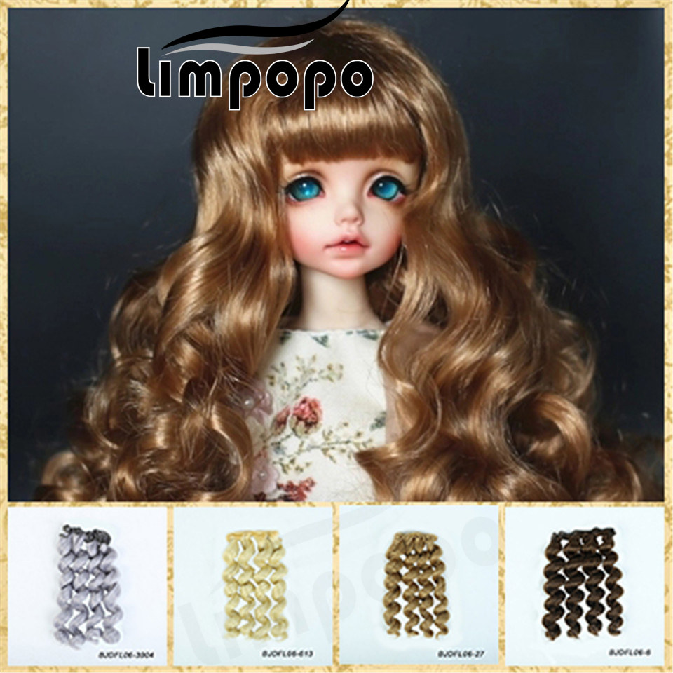 все цены на LIMPOPO 15cm*100cm bjd doll wigs with DIY hair curly braid multicolor optional 1/3 1/4 1/6 doll wig yellow brown red blue pink онлайн
