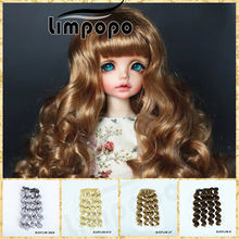 LIMPOPO 15cm*100cm bjd doll wigs with DIY hair curly braid multicolor optional 1/3 1/4 1/6 doll wig yellow brown red blue pink(China)