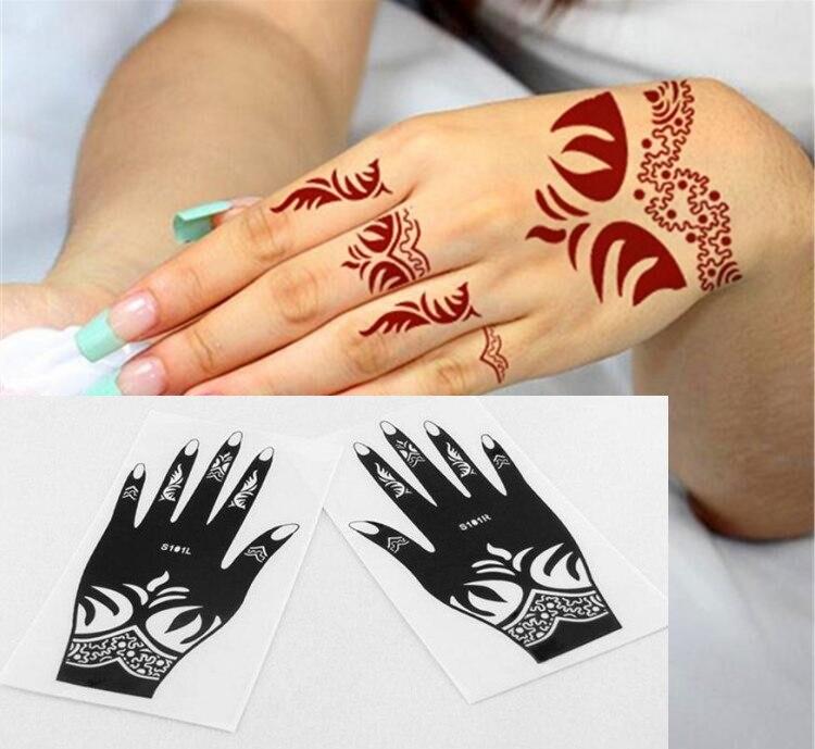 2pcs nouveau tatouage réutiliser tatouage à la main pochoir henné tatoo coller modèle main peinture art pour main gauche et droite