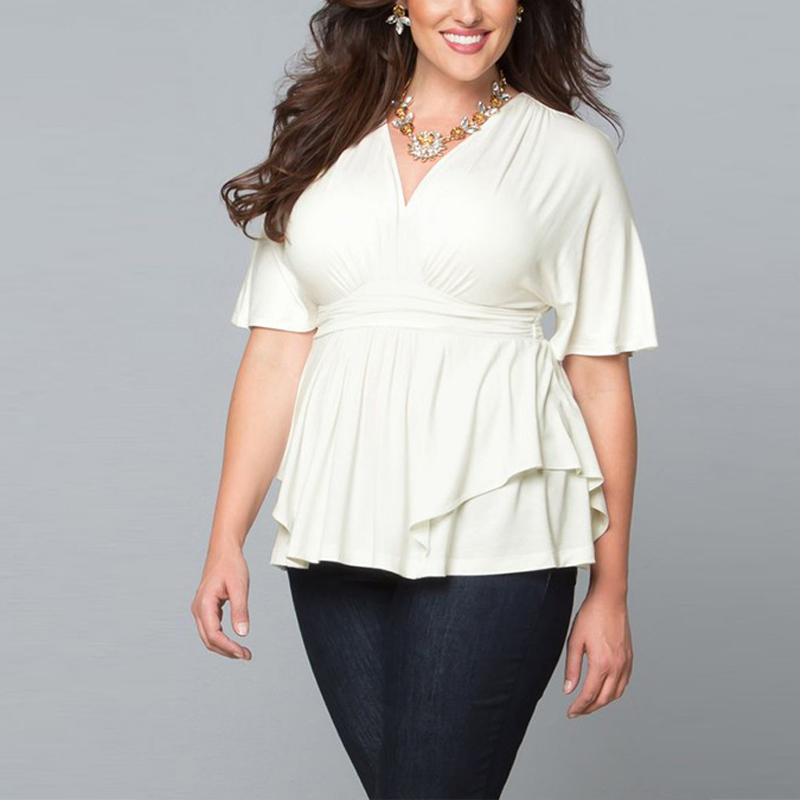 Fashionable New 2017 Spring Summer Women Tops Plus Size Wome