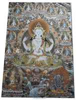 Home wall decoration antique silk embroidery Tibetan buddhist Thangka painting, buddha tangka Free shipping
