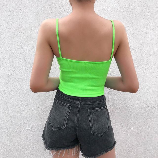 Tops de verano sexis delgados de Color neón para mujer ropa de fiesta con bordado de letras con correa de espagueti Crop Top