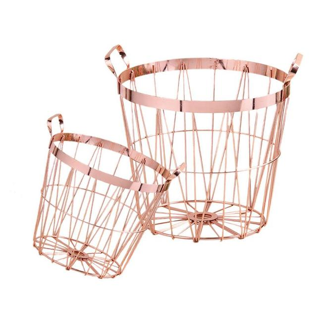 3240977876cb US $12.75 30% OFF|Nordic Style Rose Gold Storage Basket Wrought Iron  Kitchen Clear Up Laundry Basket With Handle-in Storage Baskets from Home &  Garden ...