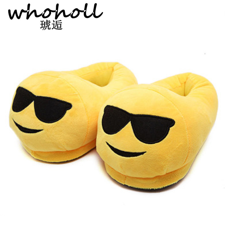 Whoholl 2016 Indoor Warm Emoji Slippers Winter Cotton Plush Slipper Emoji Shoes Smiley Emoticon Winter Soft Cartoon Shoes XF-721 plush winter slippers indoor animal emoji furry house home with fur flip flops women fluffy rihanna slides fenty shoes
