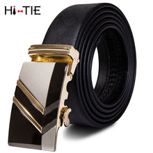 PD-2059 Brand Men Belt Automatic Solid Genuine leather Black Business Style Fashion Gold Ratche Buckle Belts for Waist