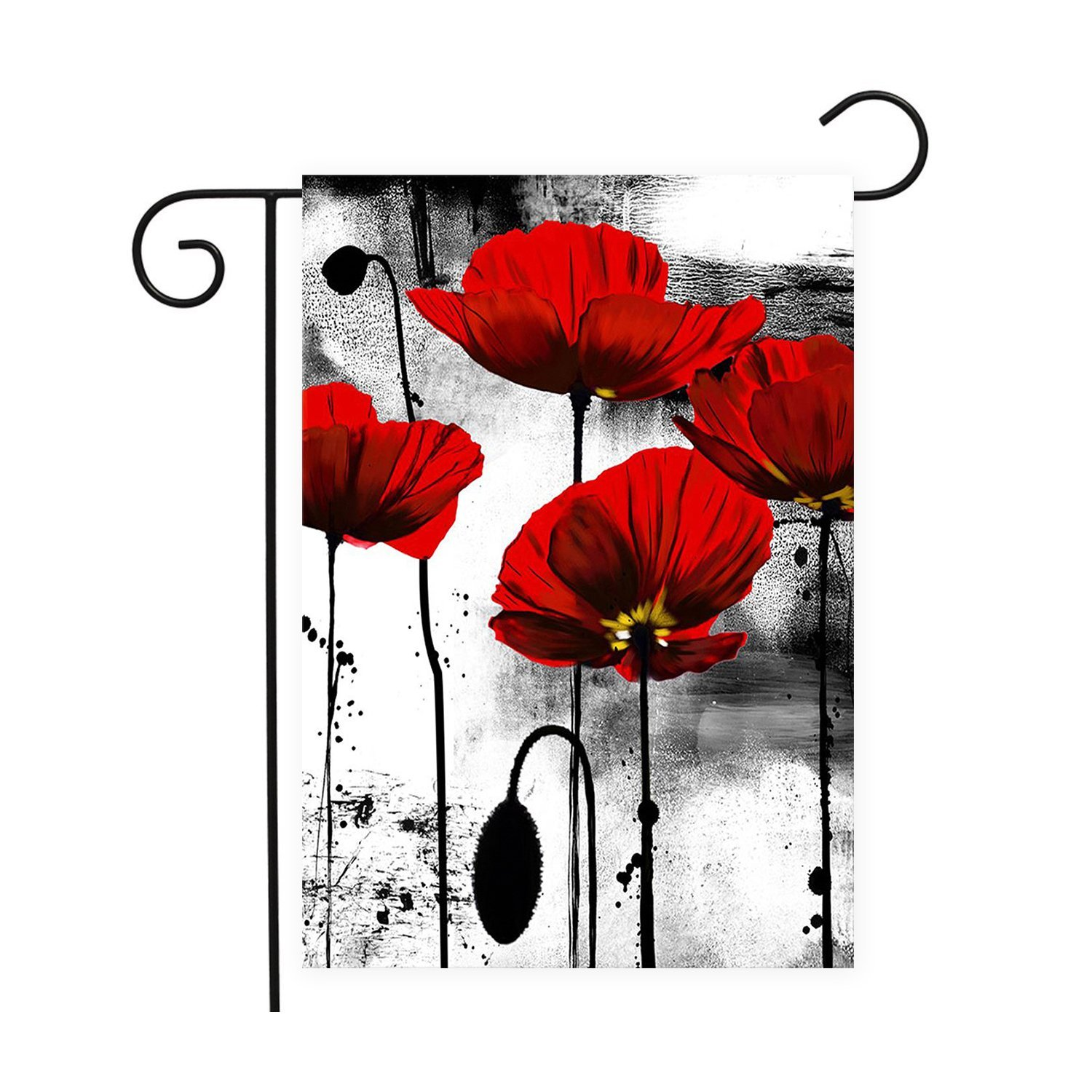 Red Poppies Flowers House Flags Garden Decor Mini Yard Banner100