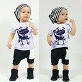 Новый Детские Мальчики Девочки Белый Короткие Рукава Животных Лягушка печать Футболка + Белый Карман Черные Брюки 2 шт. Детская Одежда Набор Для 1-4Y