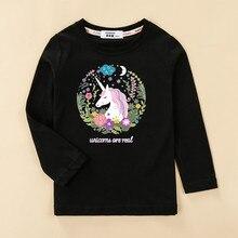 Camiseta de manga larga de 100% algodón para bebé niña unicornio camiseta para dormir ropa de niños estampado bonito casual camisetas Camiseta