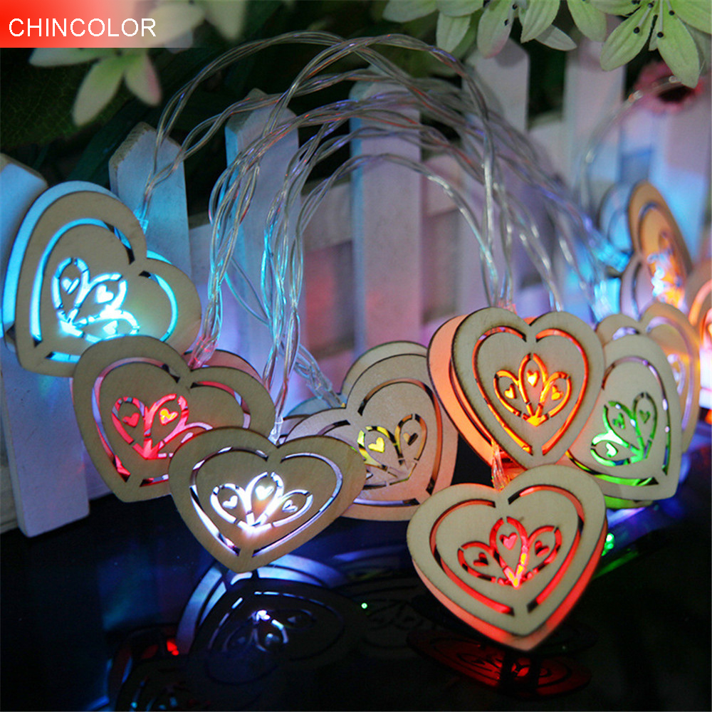 1.2M Holiday lights Wooden Hearted Love Led Light string 10LEDS Battery Operated Xmas Garland christmas fairy decoration DA