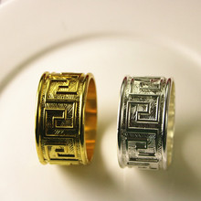 10PCS ancient costume alloy napkin ring hotel wedding set features creative home soft ornaments gold / silver silv