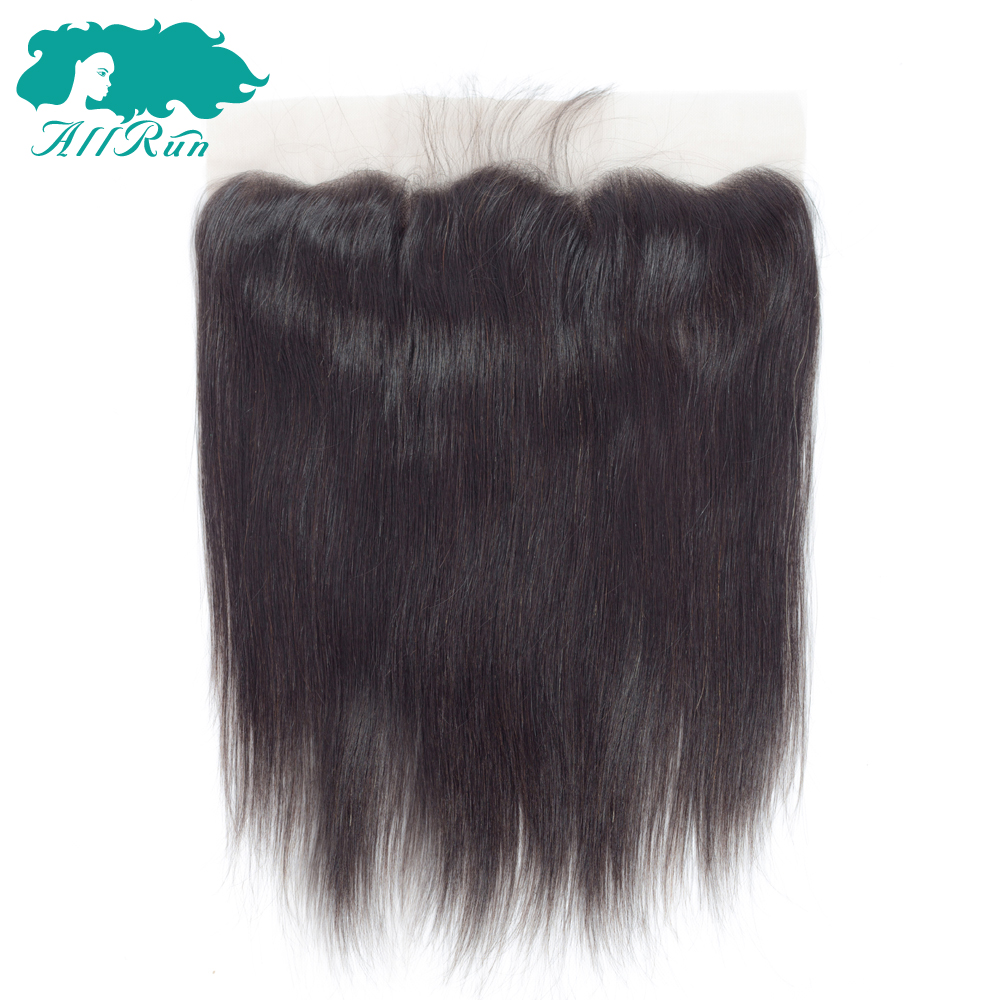 Allrun13x4 Ear to Ear Lace Frontal Closure Straight Human Hair With Baby Hair 130% Density Free Part Hand Tied Non Remy Hair