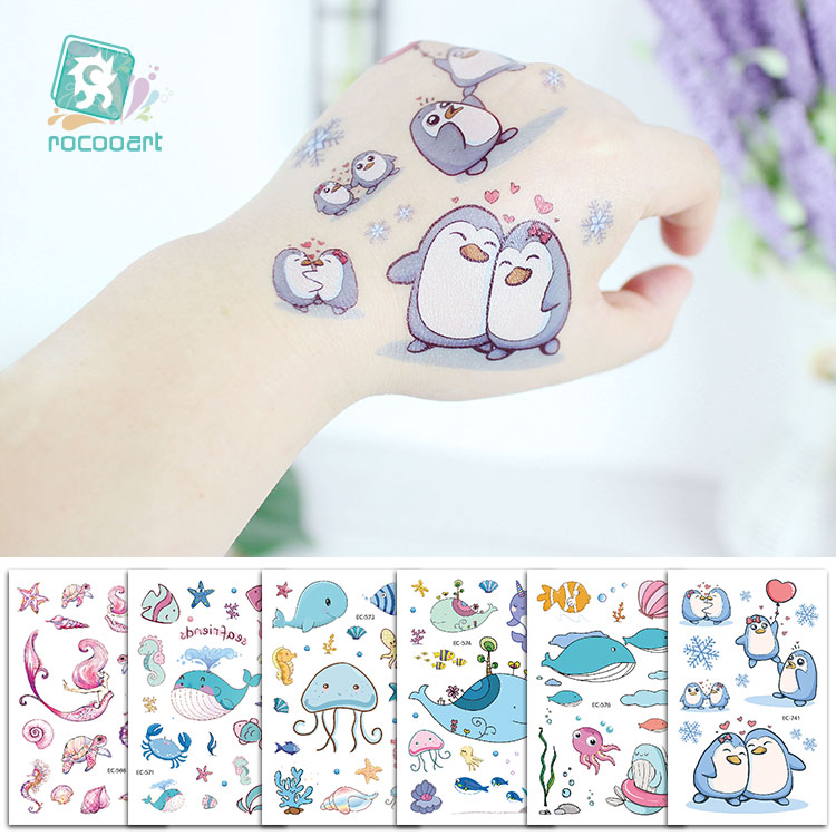 Cartoon Whale Tattoo For Kids Ocean Animal Fake Taty Children Body Art Waterproof Temporary Tattoo Sticker Blue Sea Style Tatoo