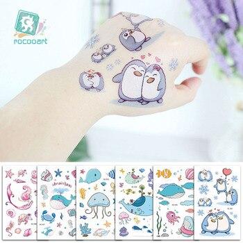 Cartoon Whale Tattoo For Kids Ocean Animal Fake Taty Children Body Art Waterproof Temporary Tattoo Sticker Blue Sea Style Tatoo