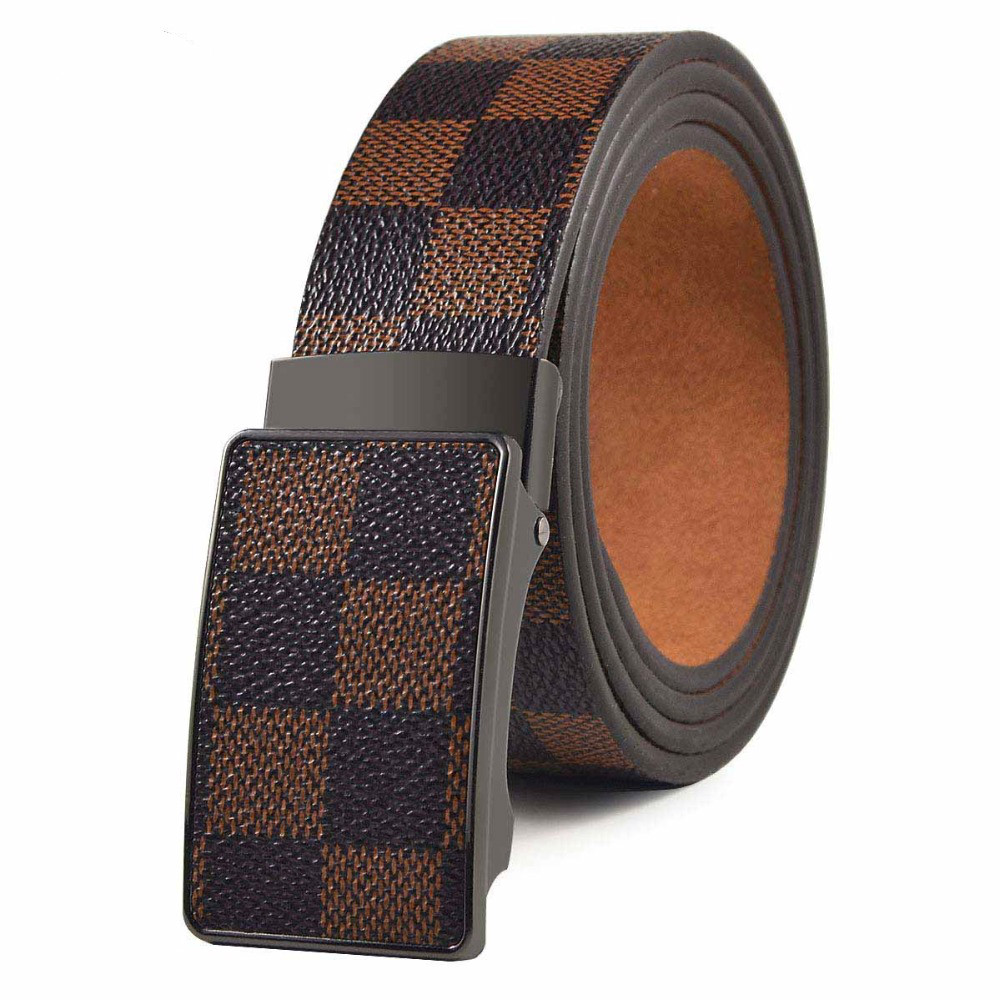 SONOR Brand Metal Automatic Buckle Checkered Pattern Leather Luxury Unbroken Wholesale Fashion Men'S   Belt   120cm Free Shipping