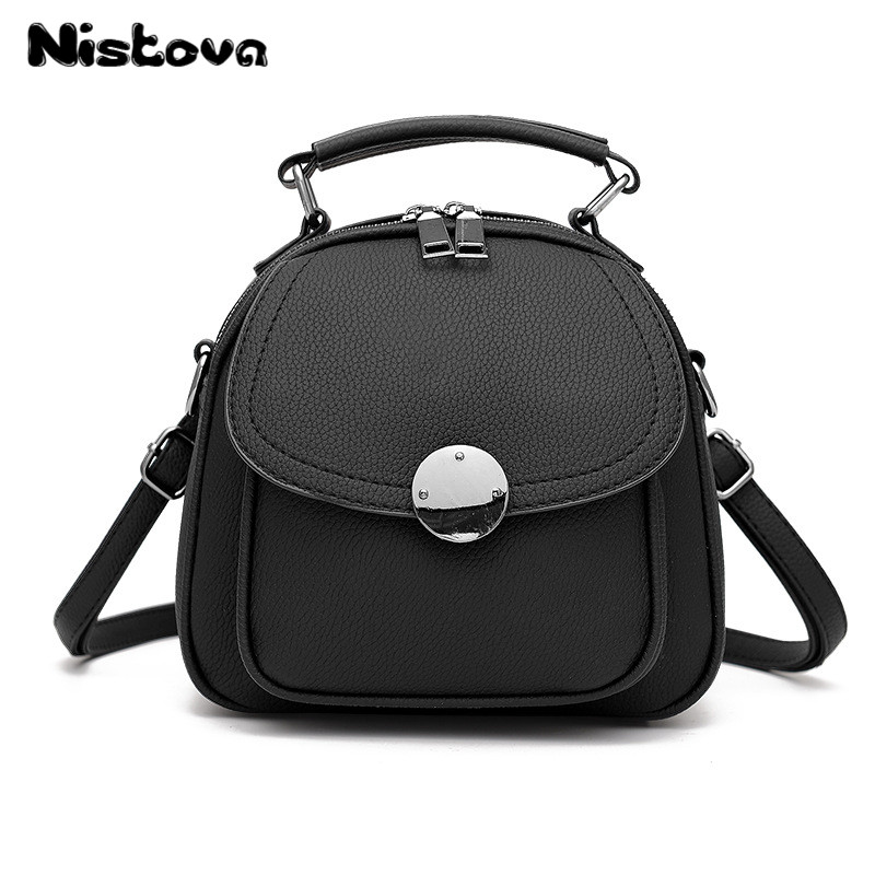 Mini PU Leather Backpack Convertible Metal Buckle Single Shoulder Purse Tiny Crossbody Bag Fashion Leisure Students Bagpack zipper front pu backpack with convertible strap