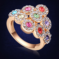 Unique Design Crystal From Swarovski  Gold Plated Flower Ring For Female Wedding Bijouterie Birthday Gift