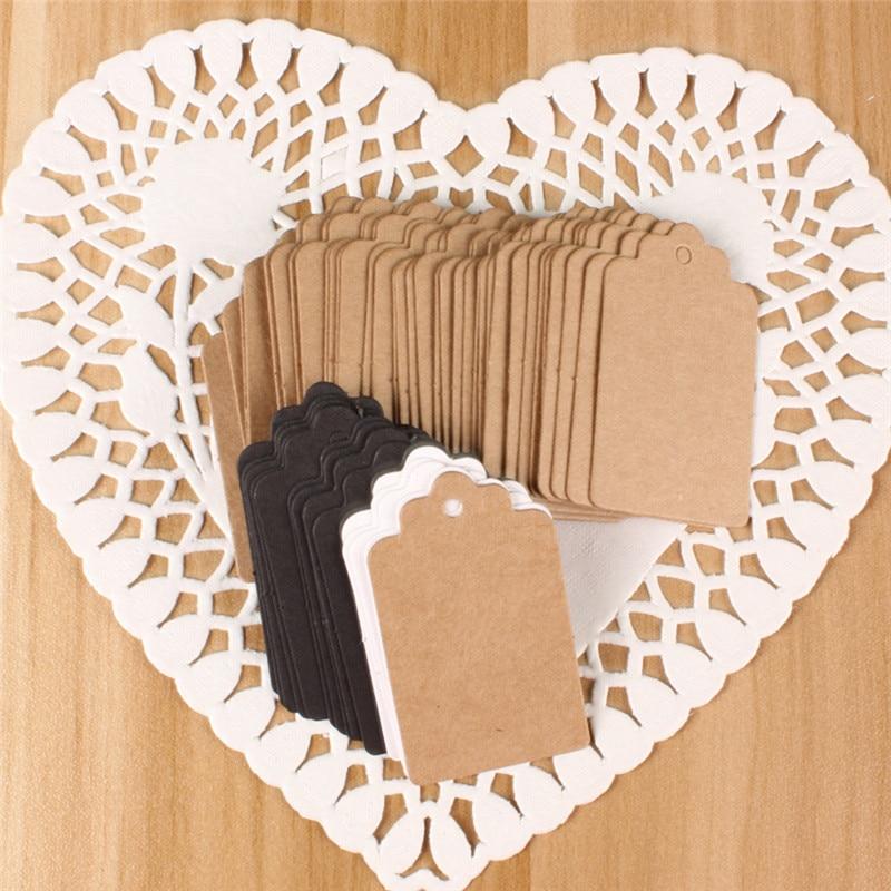 100pcs 2*4cm Paper Gift Tags Card White Scallop Festival Party Birthday Wedding Decoration Blank Mini Luggage Label WA623 P15