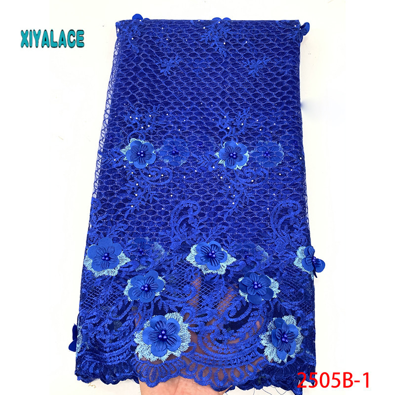 African Lace Fabric 2019 High Quality Lace 3D Flowers Tullle Lace Fabric French Beads Lace Fabric For Party Beads YA2505B-2