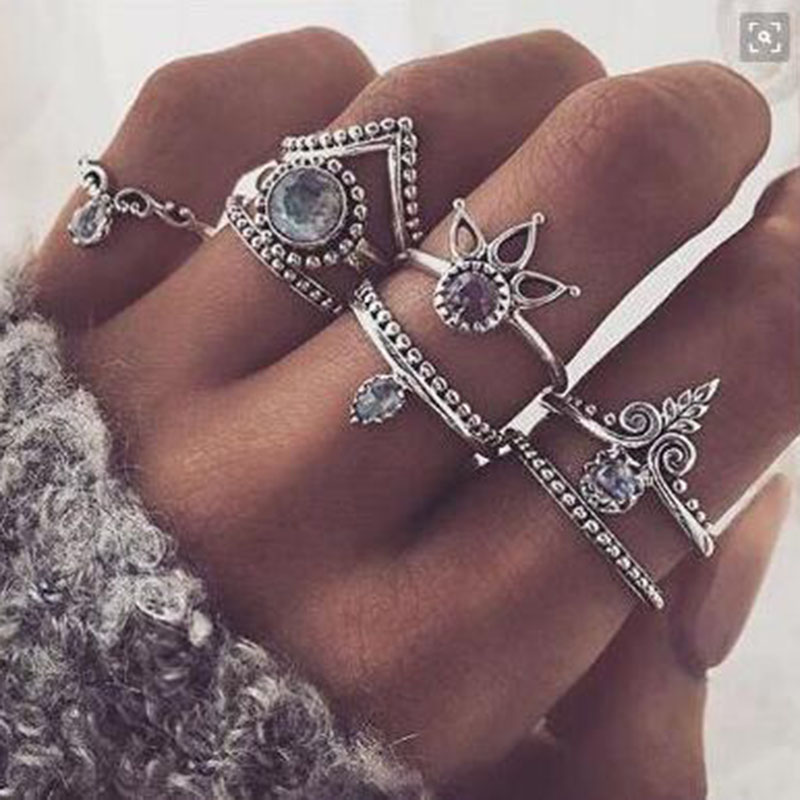 new fashion wedding jewelry 8pcs set ring vintage geometry v crystal rhinestones opal ring for women chinese market online - Cheap Wedding Rings Online