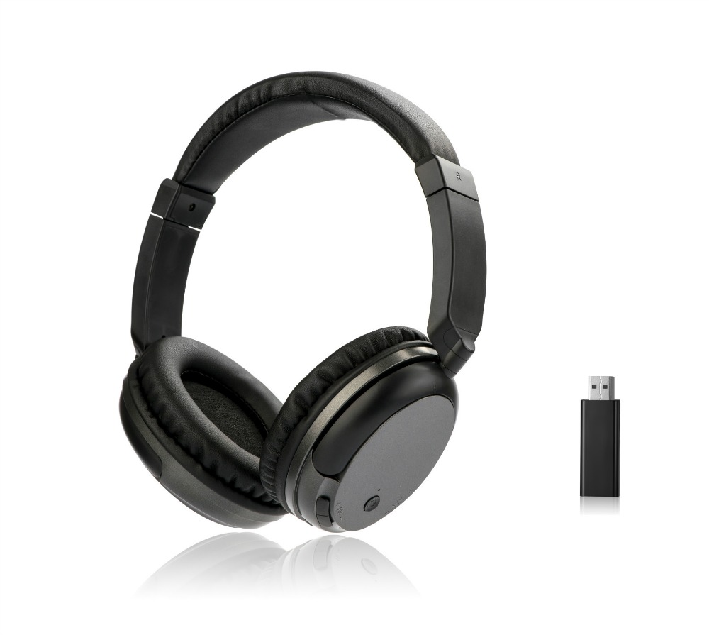 TYAYA Wireless Rechargeable Headset for TV with USB Transmitter WS-3680 Headphones For Computer Mobile Phone MP 3 Black a-096 wireless retro telephone handset and wire radiation proof handset receivers headphones for a mobile phone with comfortable call
