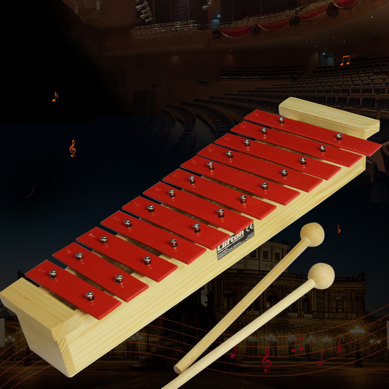 12 Note Glockenspiel Xylophone Educational Musical Instrument Percussion Gift Red Aluminum + Pine Xylophone Free Shipping