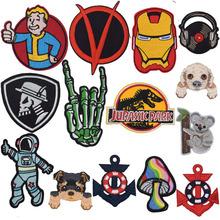 Spaceman Thumb Vault Boy Dog V for Vendetta Jurassic Park Record Africa Patch For Clothing Stickers Garment Apparel Accessories