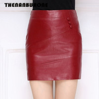 THENANBURONE Big Size Genuine Leather Mini Skirts 2018 Summer Womens Black Red Wine Red Pencil Skirt