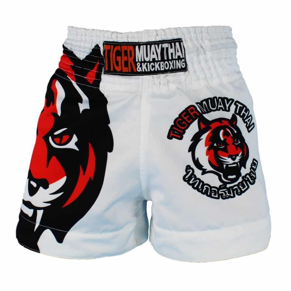 Suotf MMA Tiger Muay Thai Tinju Pertandingan Tinju Sanda Latihan Bernapas Celana Pendek Muay Thai Pakaian Tinju Kickboxing Celana Pendek Melawan