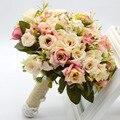 2016 Nuevo diseño caliente de la venta Hecha A Mano de calidad Superior PE Flor 3 colores de la novia de boda Nupcial ramo de flores Artificiales