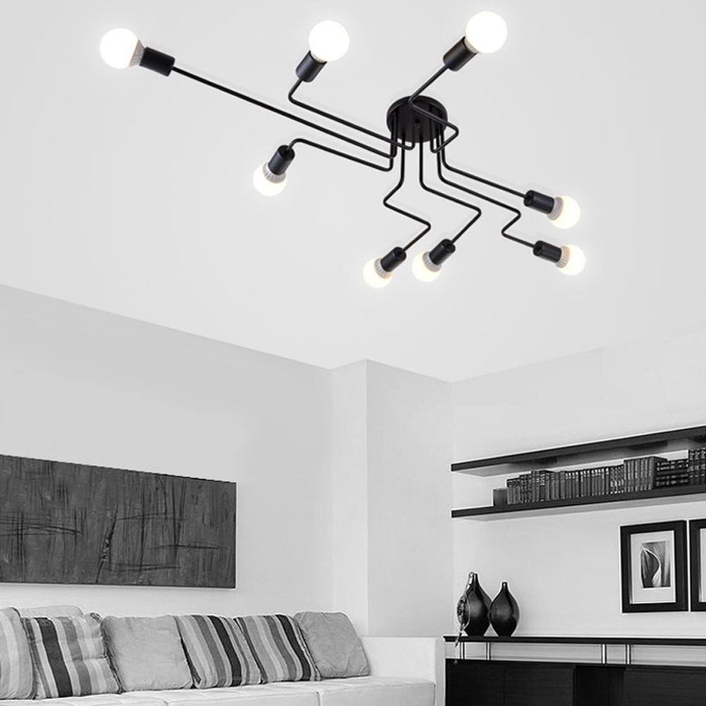 Luces de techo lámparas Vintage para la sala de iluminación de la luz de techo de hierro forjado Luminaria E27 bombilla iluminación del hogar Accesorios