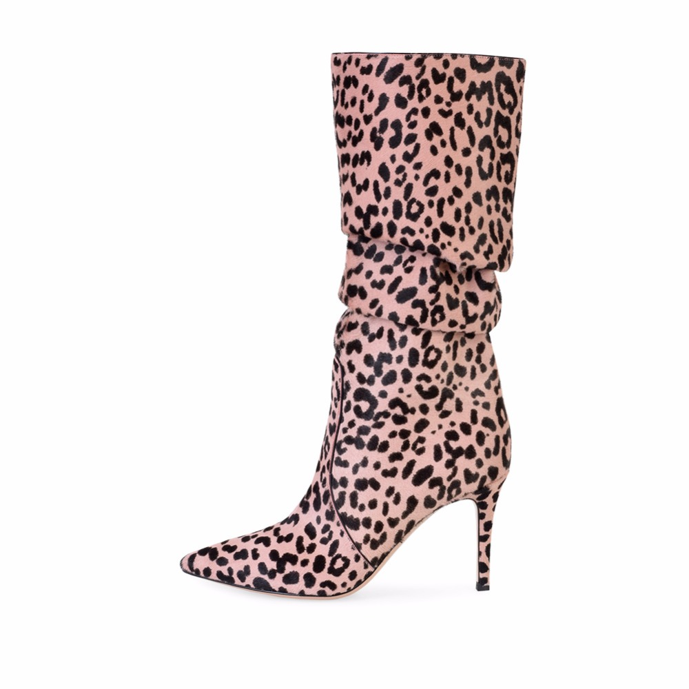 Fashion Leopard Knee Boots Thin High Heels Pointed Toe Ladies Long Boots Winter Warm Large size Shoes 2019 Hotsale Fashion Party in Knee High Boots from Shoes
