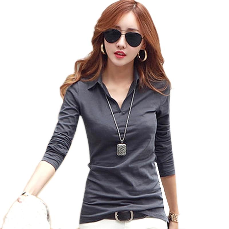 gkfnmt t shirt női hosszú ujjú pamut V kapcsolja le a gallér tetejét pólók póló nő póló camiseta feminina 2017 ropa mujer
