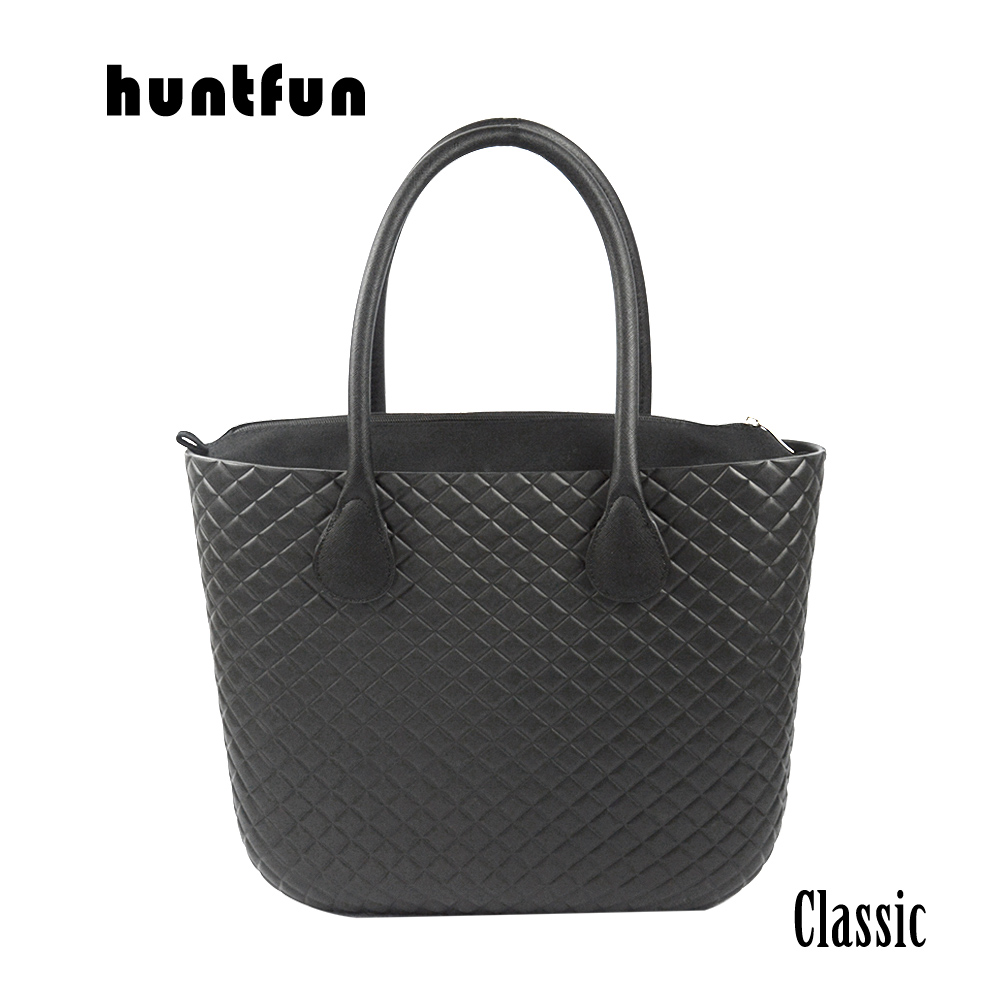 huntfun Classic Big EVA Bag with Diamond Grain Pattern Waterproof Insert Inner Pocket long leather Handles