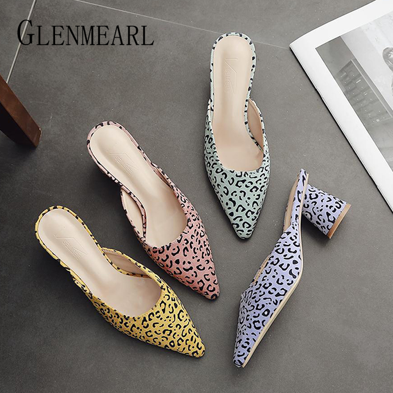 Ladies Slippers Vogue Leopard Summer time Sneakers Muller Model Sneakers Girl Slip On Excessive Thick Heel Feminine Sandals Out of doors Slippers DE Slippers, Low cost Slippers, Ladies Slippers...
