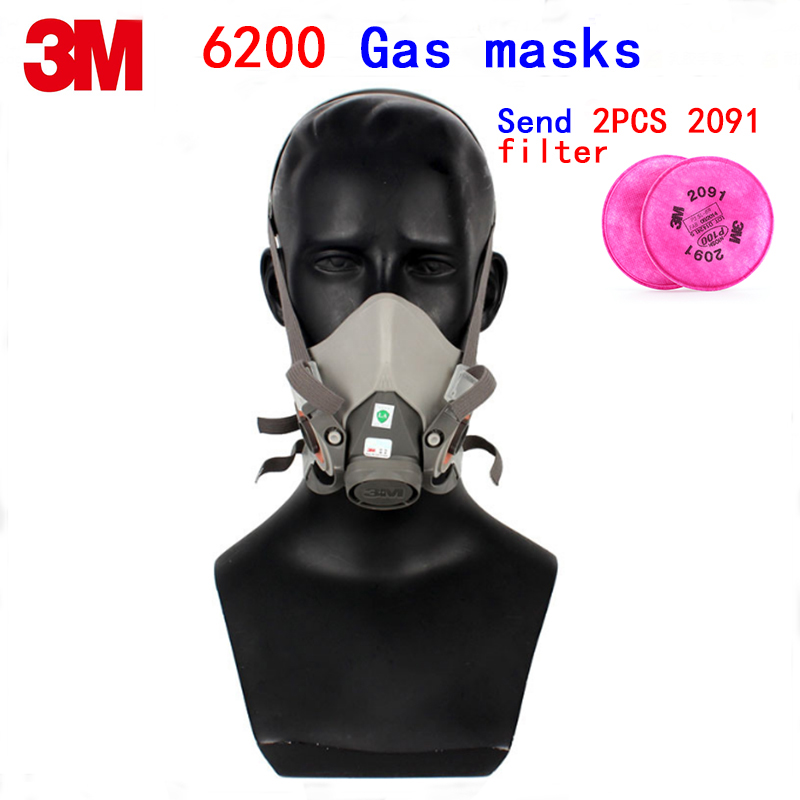 3M 6200 respirator mask high quality rubber filter mask Cold flow design protective mask Give a 2091 filter ecial painting 3m 2097 filter silicone respirator mask high grade protective mask against painting graffiti painting filter mask