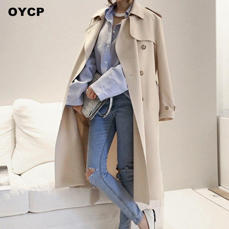OYCP Maxi Long Trench Coat For Women basic coats Solid Loose X-Long Trench Coat Black/Khaki Ladies Plus Size Coats Female 2018
