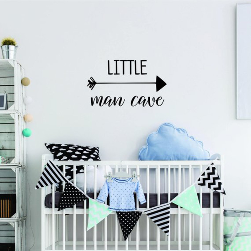 Us 8 47 26 Off Woodland Nursery Wall Decal Little Man Cave Baby Boy Stickers Quote Deer Antlers Kids Bedroom Decor Art Decals Mural L925 In