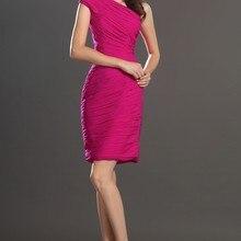 Новое простое Плиссированное коктейльное платье на одно плечо