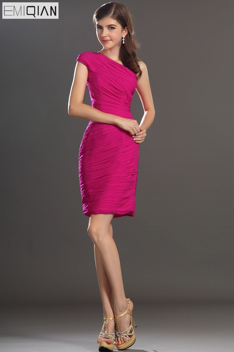 FreeShipping New Simple One Shoulder Pleated Cocktail Dress