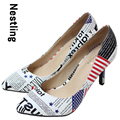 New 2015 pointed toe American flag women pumps leather women high heels shoes woman Size 34-41 D50