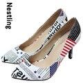 Nuevo 2015 de punta estrecha mujeres bombas de cuero de las mujeres de la bandera Americana zapatos de tacón alto zapatos de mujer Tamaño 34-41 D50