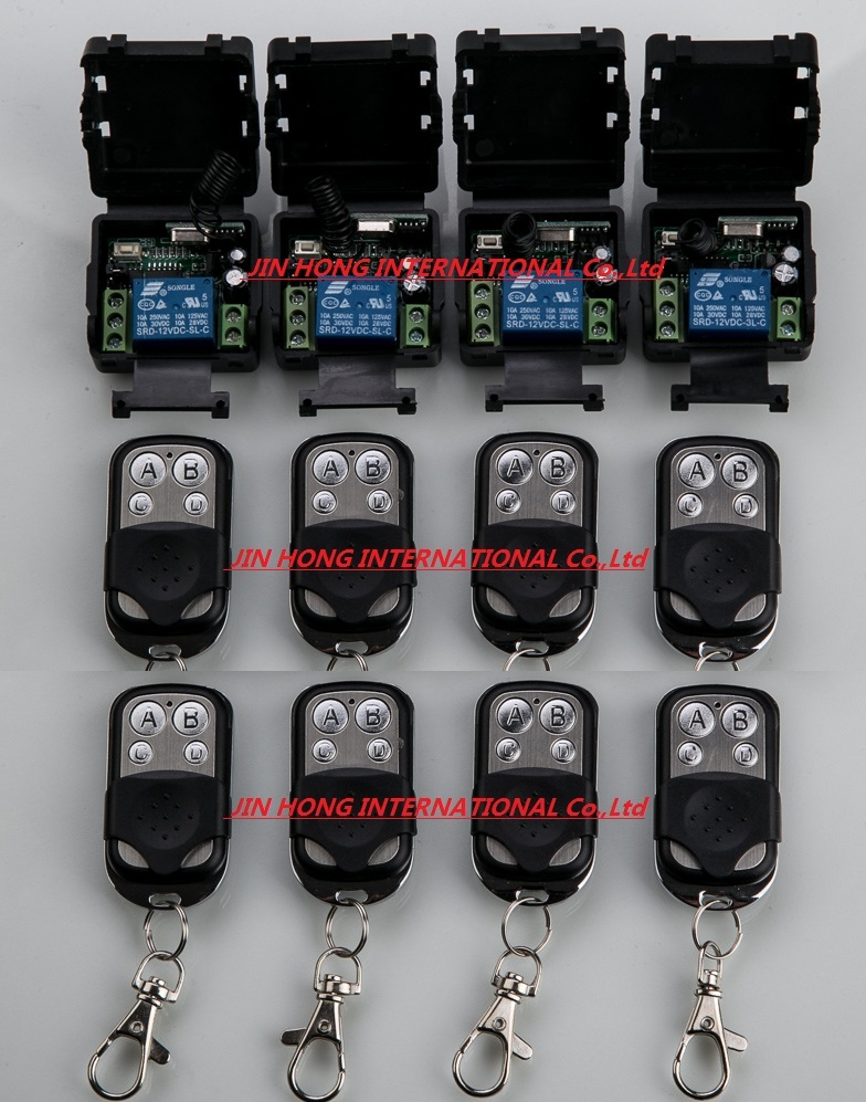 Free shipping 12V 1ch wireless remote control switch system 8pc transmitter & 4pc receiver relay smart house z-wave
