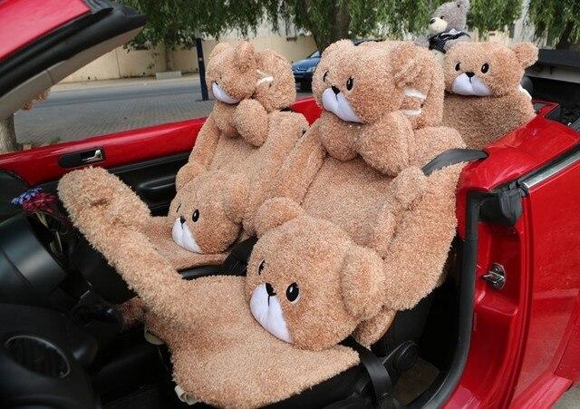 MeimeiBear Cute Cartoon Universal Automobile Car Seat Cover Camel Velvet Auto Seat Cushion 5 Seats Cover Keep Warm 10pcs